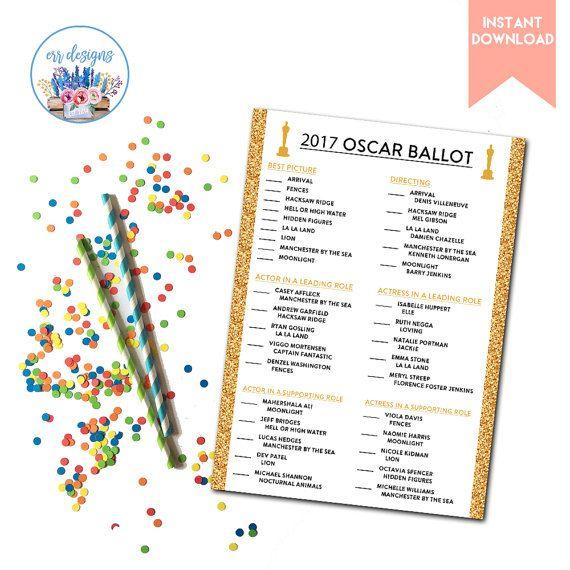 Oscar Ballot Academy Awards Ballot Oscar Party Oscar by ERRdesigns