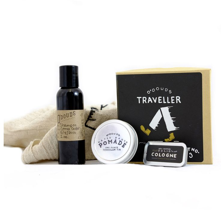 Traveller Kit by O`DOUDS APOTHECARY - The perfect carry-on travel companion. O'Douds Apothecary has sized down the Water Based Pomade and Shampoo so that you can carry it on a plane, boat, wagon, or anywhere else your adventure might take you. Packaged in a pleasant box, this set is also perfect for anybody who wants to try out a variety of O'Douds Apothecary products.