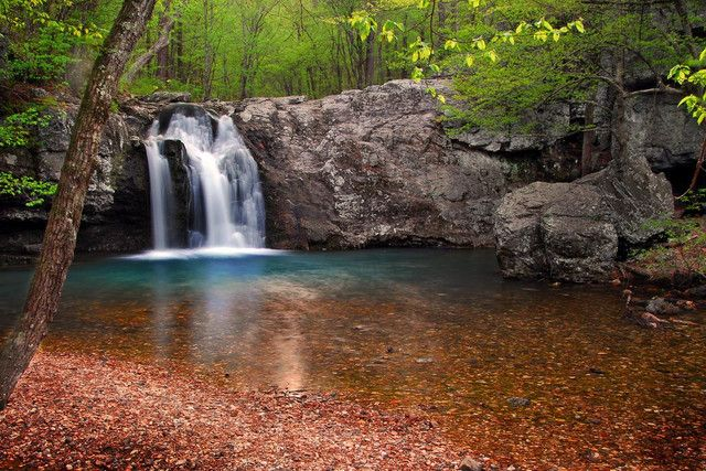 Falls Creek in Lake Catherine State Park, Arkansas. Lake Catherine is a 1,900 acre lake located in the Ouachita Mountains in central Arkansas. This State park features the lake, the creek and miles of hiking trails.