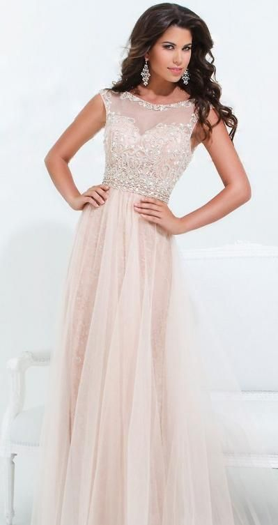 Long Light Pink Dress W/ Sweetheart Neckline W/ Sheer Cover & Beaded Details.