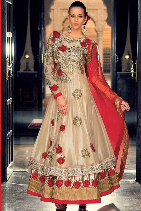 Golden Net Embroidered Designer Anarkali Party Wear Suit