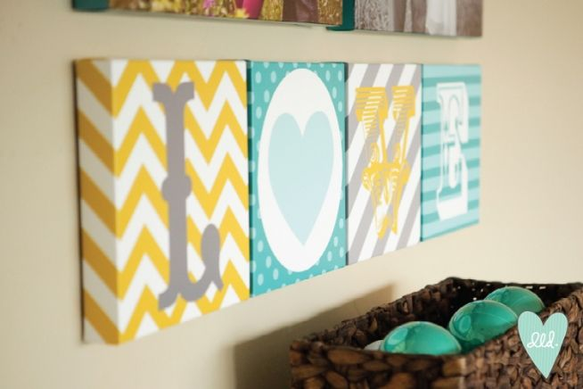 LOVE canvases by Polka Dots & Daisies-- mustard, teal, white, grey & aqua. Mixed prints. Chevron, polka dots, stripes!
