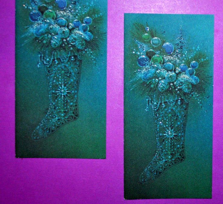 VTG XMAS GREETING CARD Norcross UNUSED~Glittered  BLUE STOCKINGS ~with Ornaments