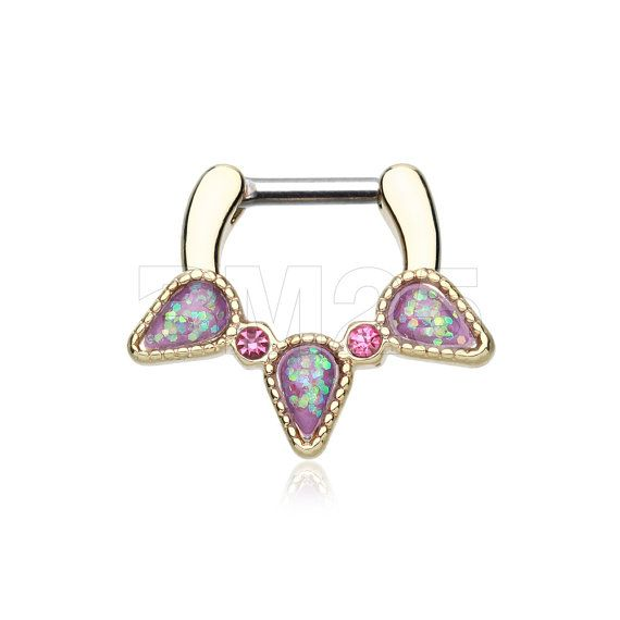 Golden Opal Sparkle Trident Septum Clicker by BM25Jewelry on Etsy