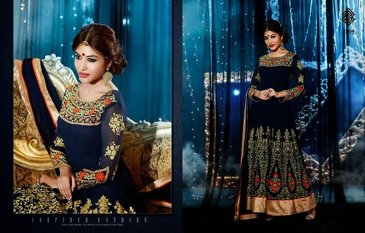 Very Beautifully Designed Georgette Floor length Navy Blue Anarkali With Superb thread Embroidery and Stone work en-crafted. Comes along with Santoon Bottom and inner and Chiffon Duppatta.