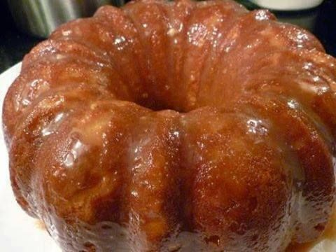 Banana Creme Bundt Cake using cake mix and banana instantpudding
