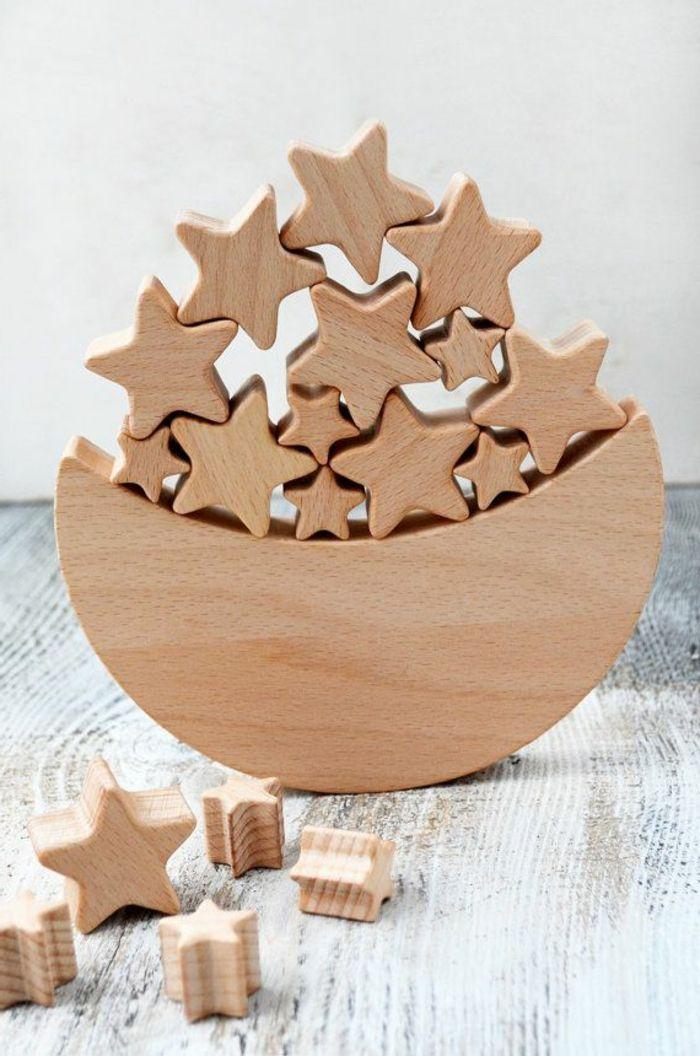 jouets en bois, jouet bois la lune et les étoiles