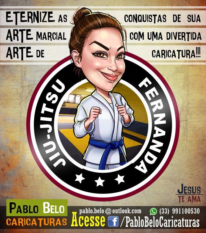 Jiu-jitsu, Fight, Caricatura, Faixa azul, Desenho, Jiu jitsu, Luta, Kimono, PabloBeloCaricaturas, Menina, Girl, Drawing