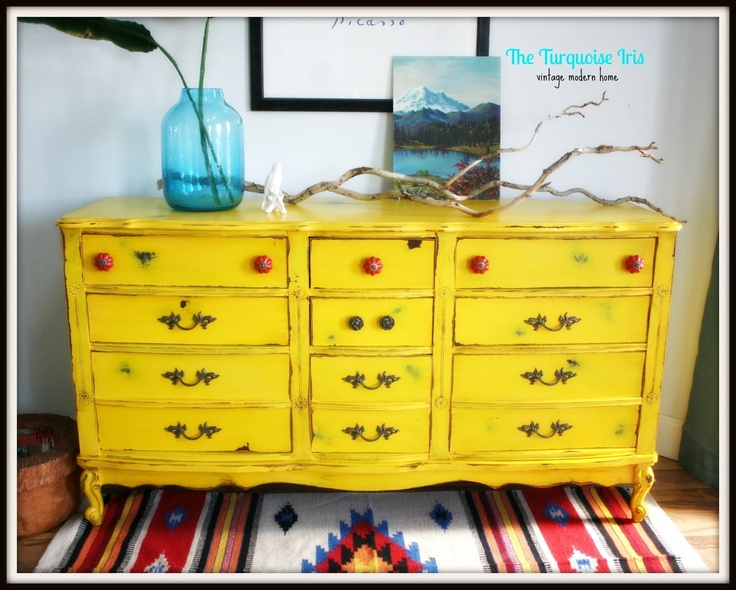 The Turquoise Iris: Vintage Yellow Distressed French Dresser