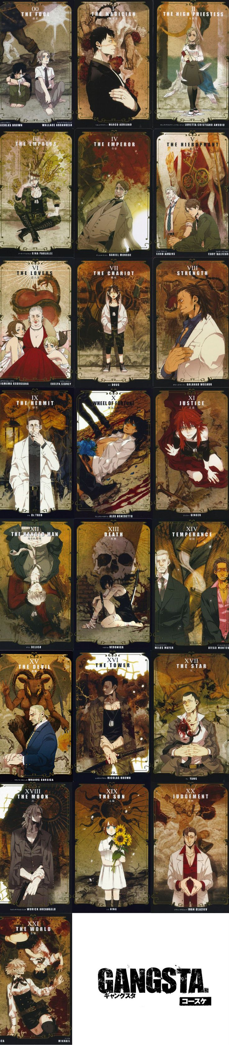 Gangsta ~ Tarot cards... I found some of these here on pinterest, and put them all together!!! Yaaay!! <3 ^^