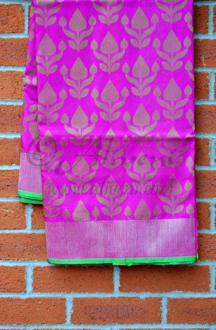 Magenta Pink Banarasi Resham Brocade Silk Saree - Aliveni - 1