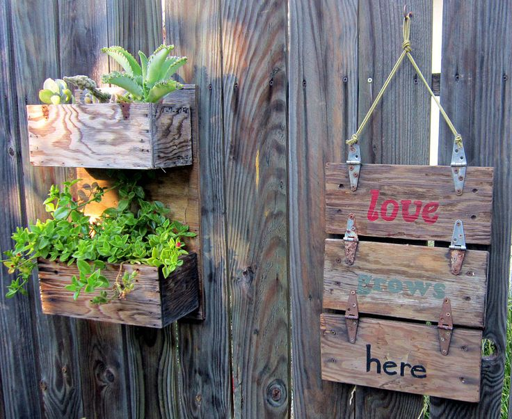 Rustic Wooden Industrial Tool Boxes = Garden Sign & Planters