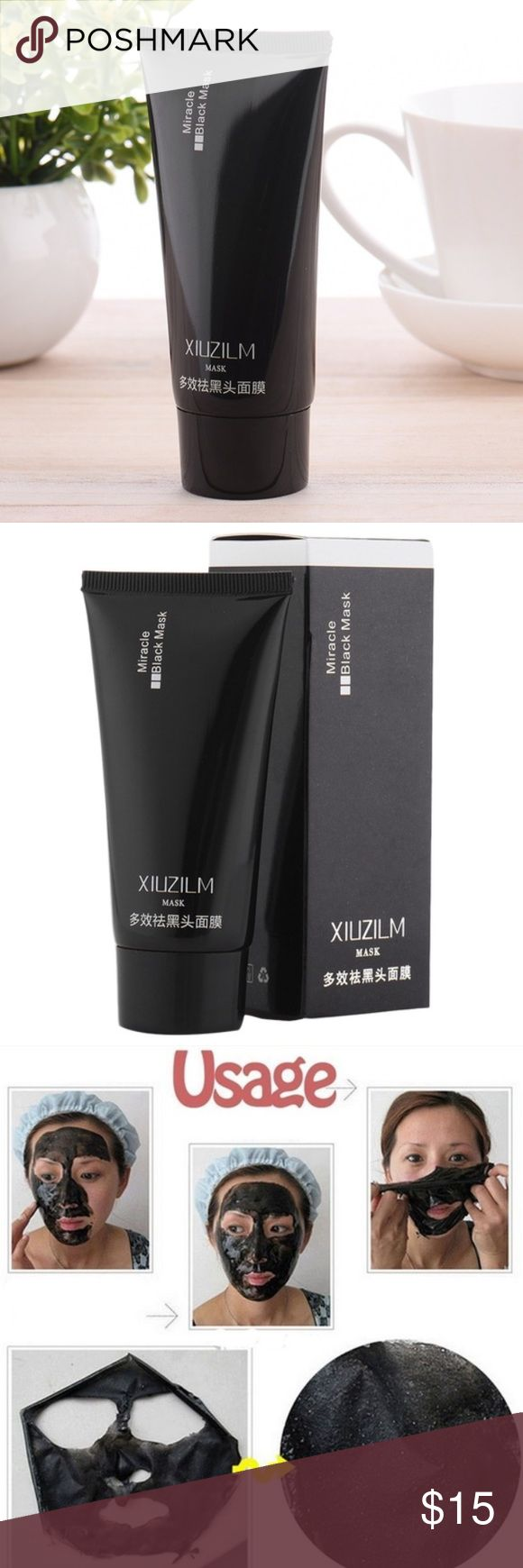 Two black mask, price for both Two bottles of miracle black mask  Product Description: •Blackhead Remover Black Mud Deep Cleansing Purifying Peel Face Mask •Net Content: 60 ml •Gross Weight: 77 g •Instructions for use: clean nose and around with a hot towel over your t zone so that help with the expansion of the pores, then take appropriate solution of the blackhead Mask dry after 15-20 minutes or more, peel off mask slowly. Xiuziln Makeup