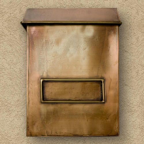 Brexton Vertical Wall-Mount Copper Mailbox - Oversized - Antique Copper