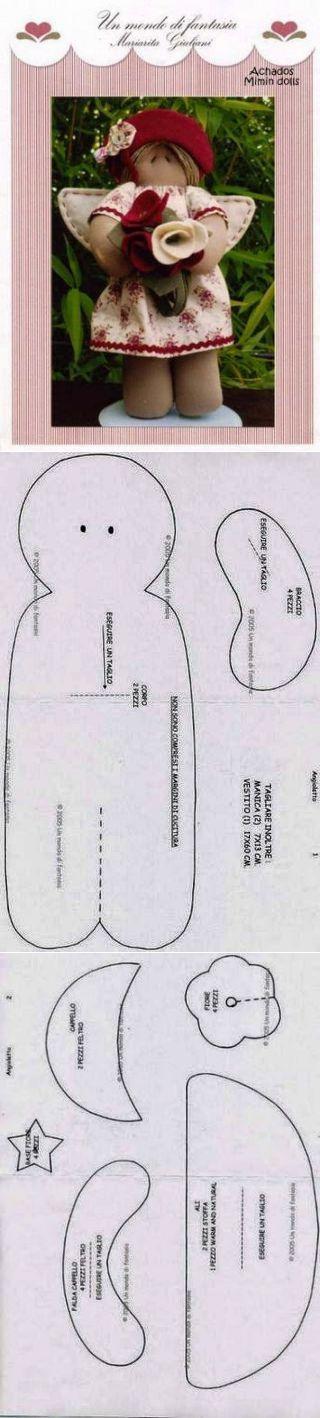 FELTRO MOLDES ARTESANATO EM GERAL: BONECA DE PANO COM MOLDES