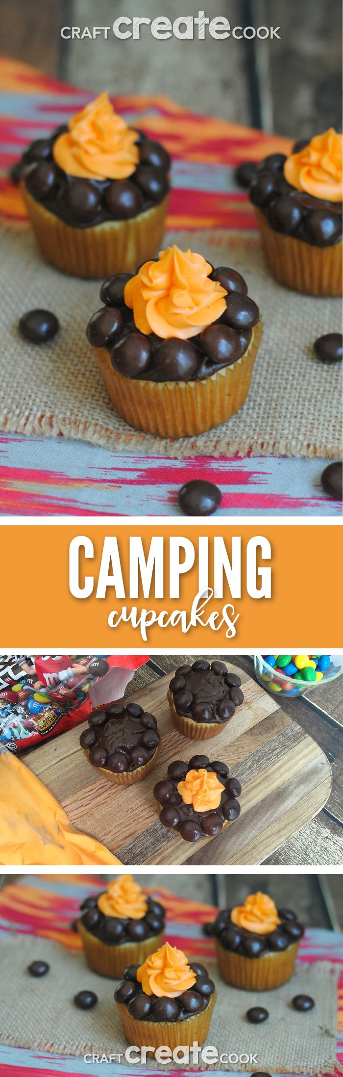 Whether you are camping in the backyard or out in the great outdoors, these camping cupcakes are easy to make and fun to eat! via @CraftCreatCook1