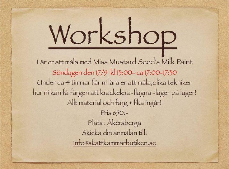 Höstens första workshop! Söndagen den 17/9 maila ert intresse på info@skattkammarbutiken.se #skattkammarbutiken #milkpaint #mmsmp #workshop #måla #målaom #målamöbler #målarglädje #kalkfärg #kaseinfärg #diy #gördetsjälv #glädje #färg #förändramedfärg