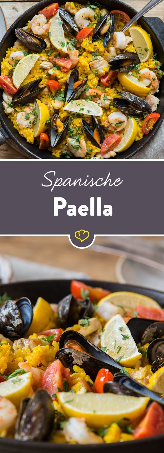 Photo of Spanish paella with tender chicken and mussels