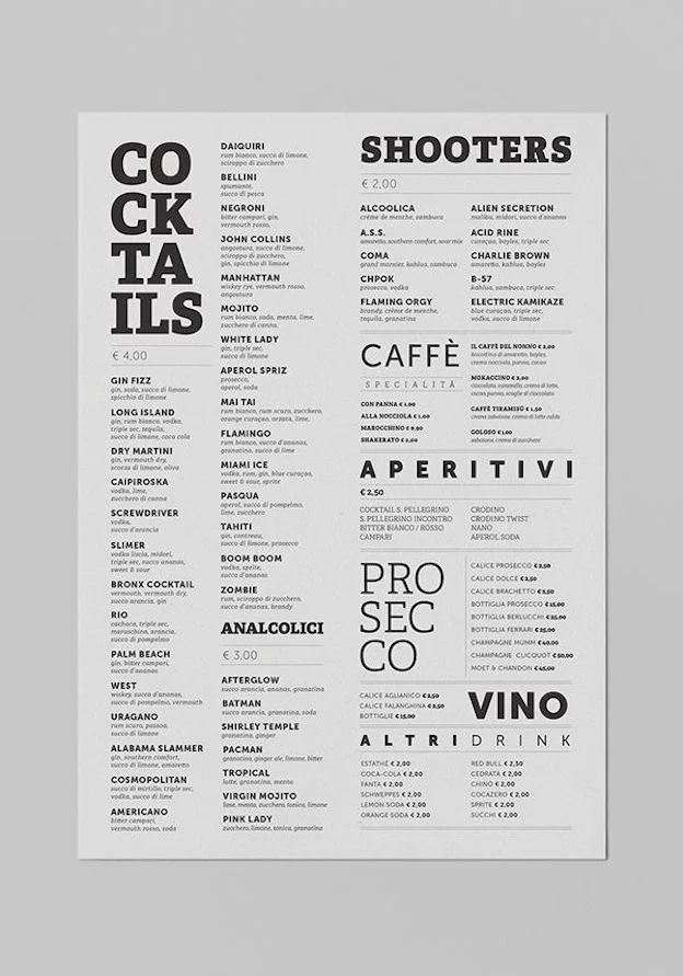 Mastering Visual Hierarchy For Menu Design 99designs In 2020 Getranke Karte Speisekarte Caipiroska