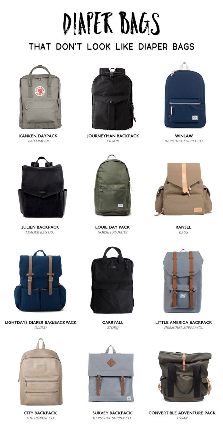 Twelve of the best diaper bags and backpacks that don't look like diaper bags that both mom and dad can proudly use and carry.