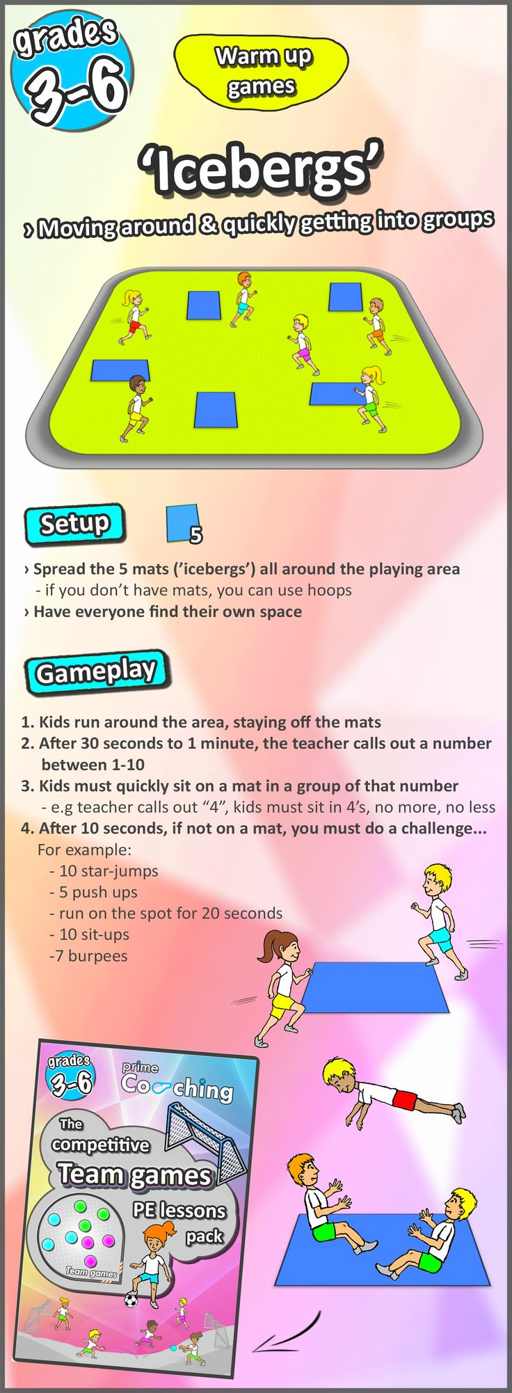 FREE DOWNLOAD - 8 easy to set up PE warm up games for your grades 3, 4, 5, and 6 kids - turn them into sport stars!