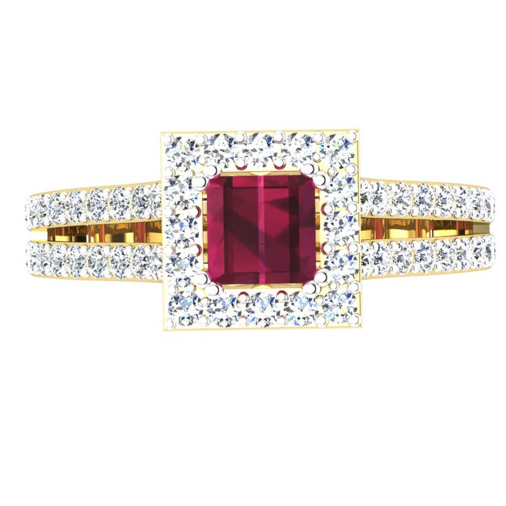 Natural 1.57 Ct Round Diamond Real Ruby Ring Real 14K Yellow Gold Gemstone Rings