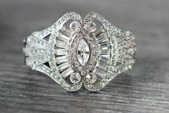 Art Deco Bridal Cuff Bracelet Gatsby Bridal Cuff by EdenLuxeBridal, $98.00