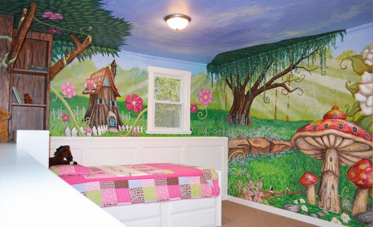 I Painted This Enchanted Forest Mural In My Daughter S