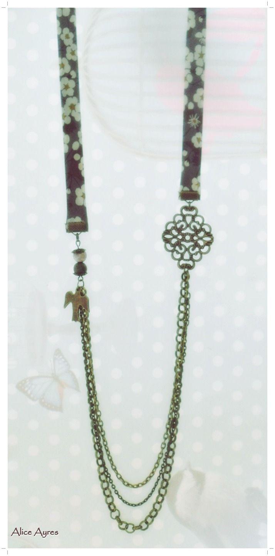 Sautoir bronze et liberty - Magic Bird : Collier par alice-ayres