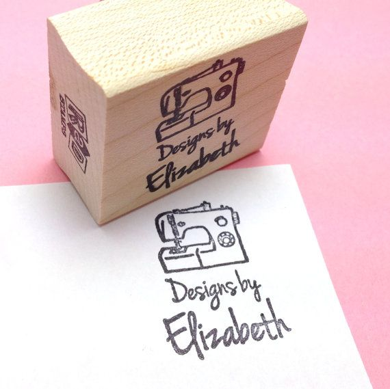 Custom Rubber Stamp - Designs by YOUR NAME - custom stamp - clothes tags - label - Sewing Machine