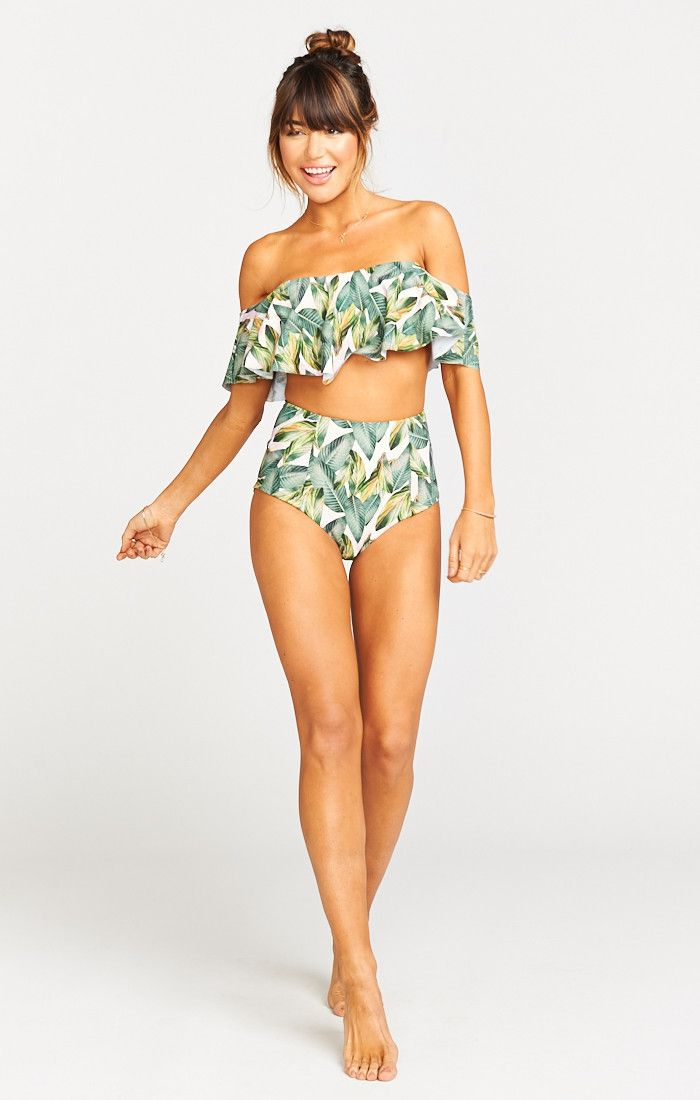 Pin-up and post-up at favorite poolside bar, this high rise bikini will raise your summer style. Perfect with the Bondi Ruffle top, or layered under a sheer summer dress. We gave this bottom just the right amount of coverage, so it's family vacation approved. Two layers of our exclusively printed spandex gives you just a bit of slimming power.   *Nylon/Elastane *The suit is fully lined in the same print that's on the outside