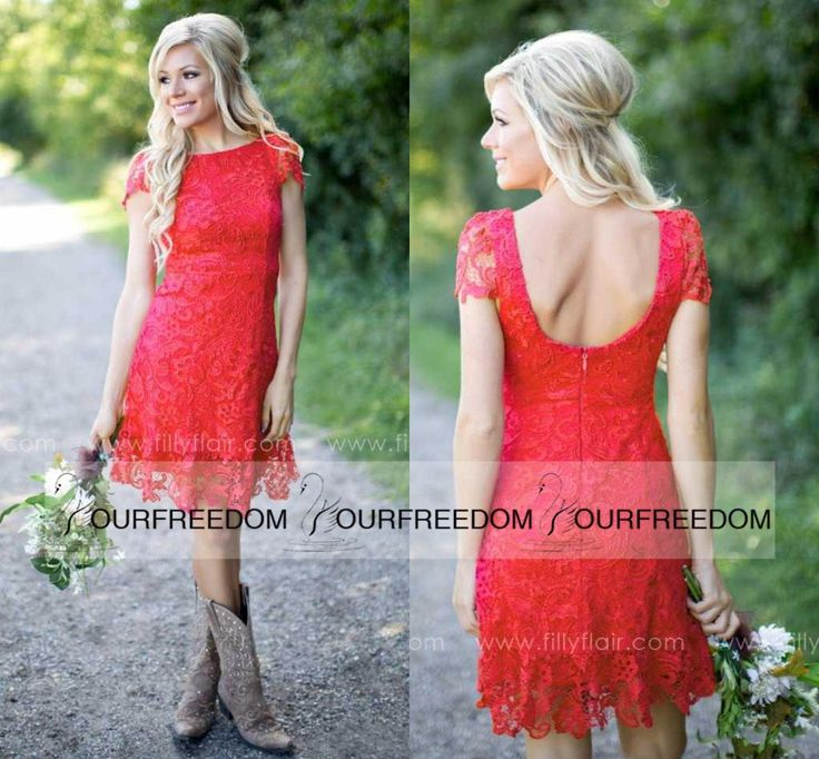 Awesome Red Full Lace Short Bridesmaid Dresses Cheap Western Country Style Crew Neck Cap Sleeves Mini Backless Homeing Cocktail Dresses Cheap Country style