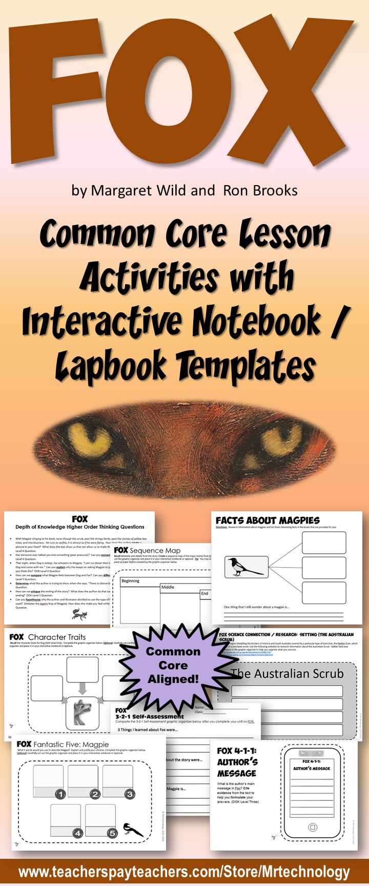 UPDATED FOX Lesson Activities with Interactive Notebook / Lapbook Templates (by Margaret Wild and Ron Brooks). Dog and Magpie take care of each other until Fox lures Magpie away to show her what it is like to be alone. Lots of new Common Core activities added!