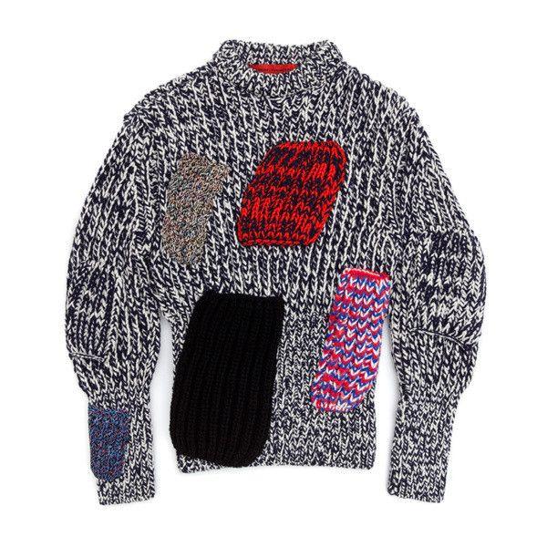Raf Simons / Knitwear & Sweatshirts | Storm ❤ liked on Polyvore featuring tops, hoodies, sweatshirts, sweaters, crew-neck sweatshirts, crew neck knitwear, raf simons, crew knitwear and blue top