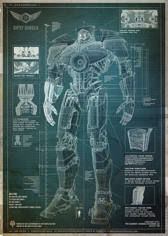 PACIFIC RIM - Jaeger schematics. Wow, I do love technical drawings