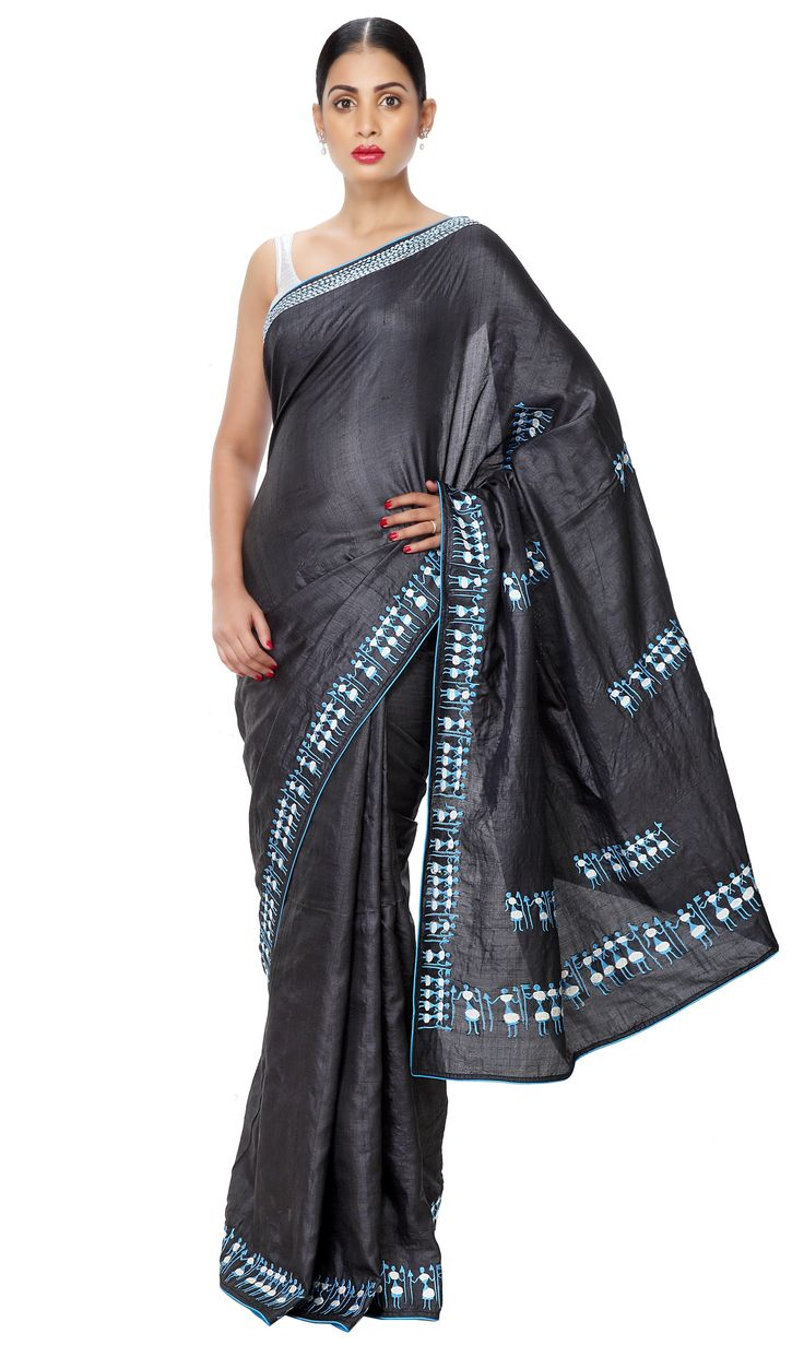 - POWER DRESSING ALERT - Corporate Evening Wear Tussar Silk Black Saree with Embroidered Tribal Theme.  Now on SALE at 15% OFF. Shop Now!
