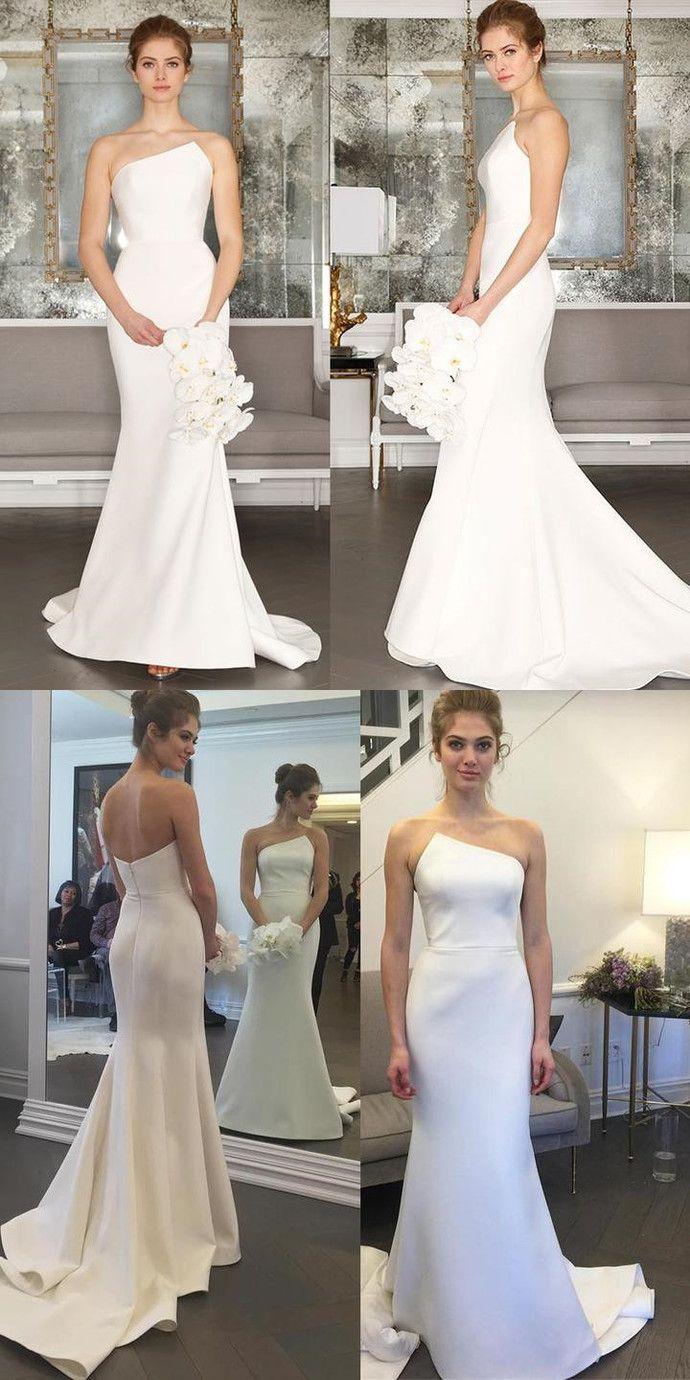 Charming satin wedding dress simple design backless mermaid wedding