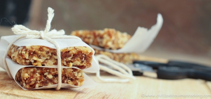 """caveman"" apple pie bars. Made these tonight and they are awesome! I doubled the recipe and added nutmeg, clove, and lemon juice. I'm never buying Lara bars again!"