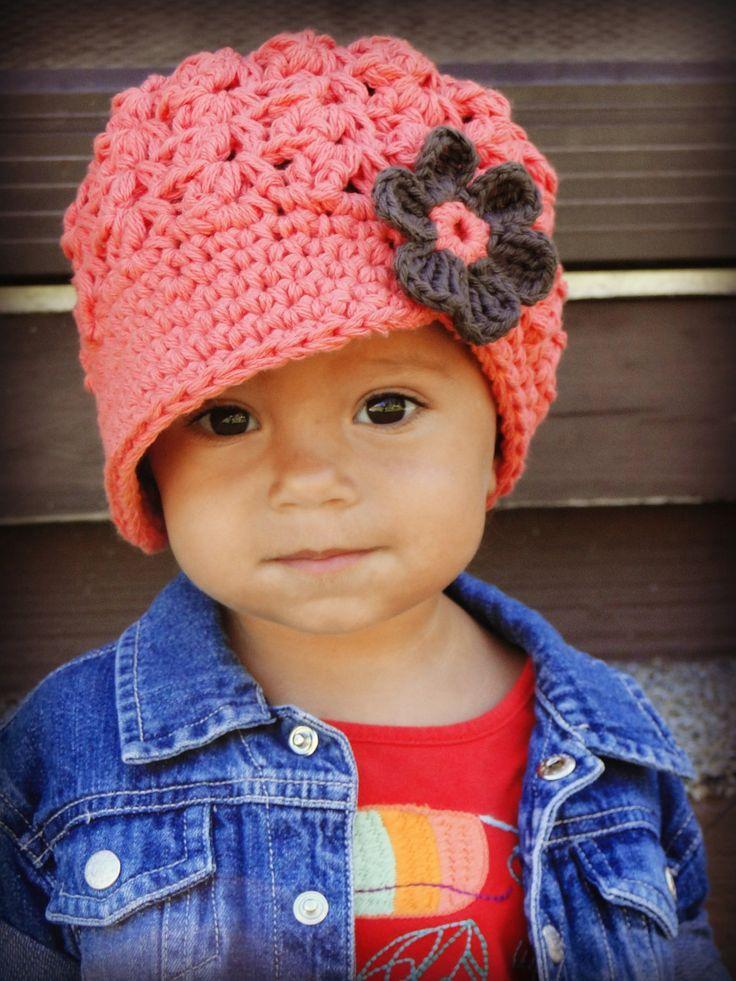 Crochet Women's Hat, teen hat, adult hat, newsboy hat, custom colors, visor-brim hat, hat with flower. $26.00, via Etsy.