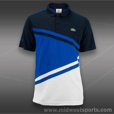 Lacoste Team Ultra Dry Diagonal Stripe Color Block Short Sleeve Polo Mens Navy/R