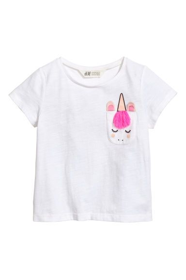 T-shirt with a chest pocket - White/Unicorn - | H&M GB