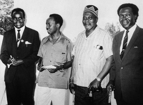 Dr. Kenneth Kaunda of North Rhodesia, Julius Nyerere of Tanzania, Jomo Kenyatta of Kenya, and Dr. Milton Obote of Uganda at the East African Heads of Government Conference, 1964.