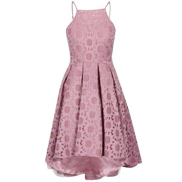 Rochie roz prăfuit Chi Chi London Ruthie din dantelă cu tiv asimetric