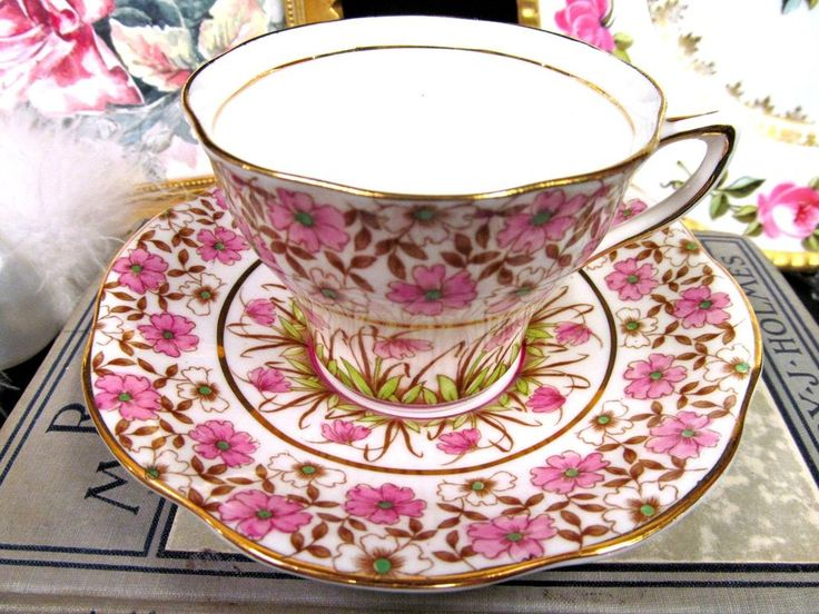 Antique / Vintage Rosina Pink Floral Tea Cup and Saucer, Pink Flowers, Chitz Teacup - England, 1900 - 1940 - Early 20th Century English Bone China Teacup