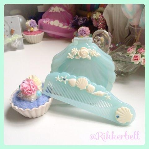 ♡Shell mirror&comb blue