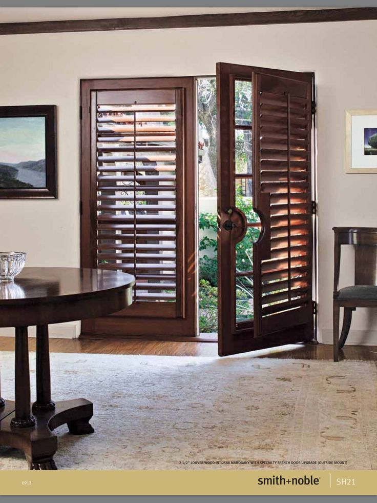 For French doors wood shutters