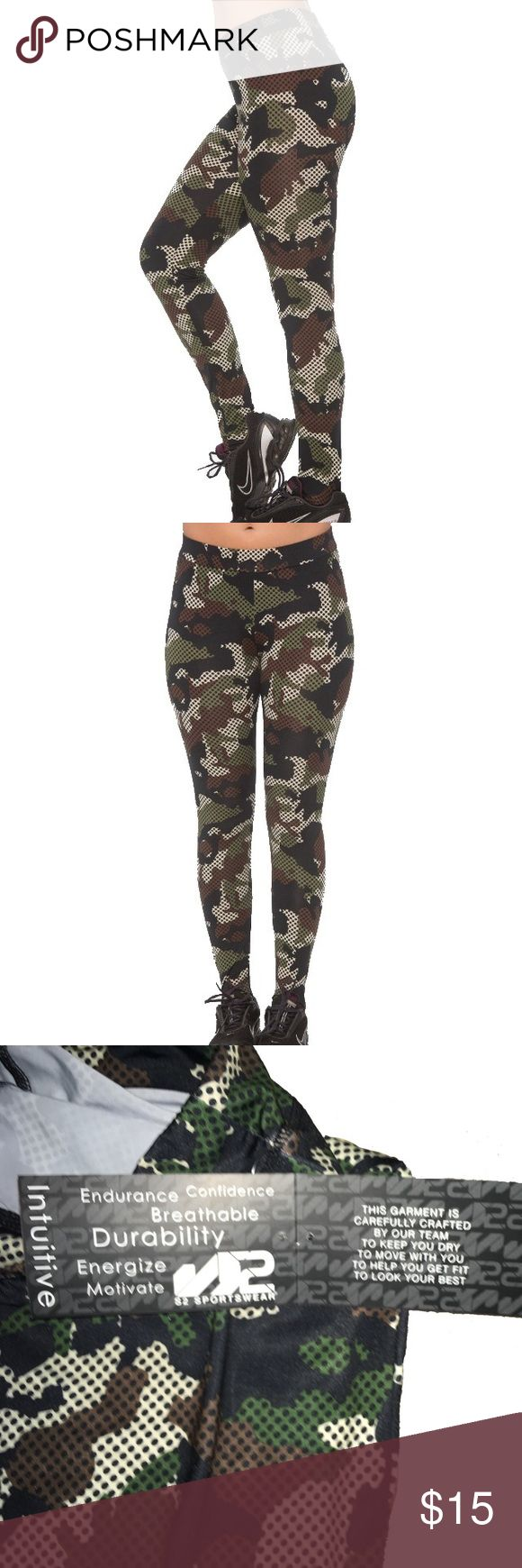 NWT Camouflage XL Stretch Leggings Pants Workout S2 Sportswear Camo Leggings with Zipper Pocket along the waistline. Size Extra Large- runs small fits more like a Large. In Black (black, white, gray) & Green (green, black, tan). Both are New With Tags. They Retail for $79 each. S2 Sportswear Pants Leggings