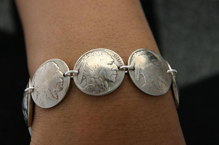 Coin Jewelry Vintage Buffalo Nickle Coin Bracelet Sterling Silver Links. $45.00, via Etsy.