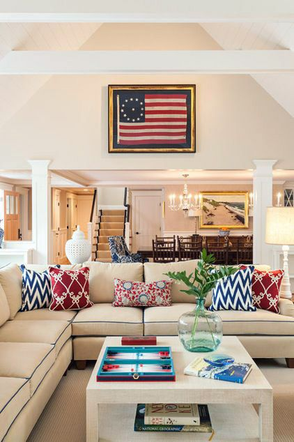 Nautical living room with red, white and blue decor.