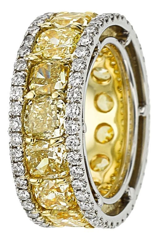 Fancy Yellow Diamond, Diamond, Platinum, Gold Eternity Band. ...